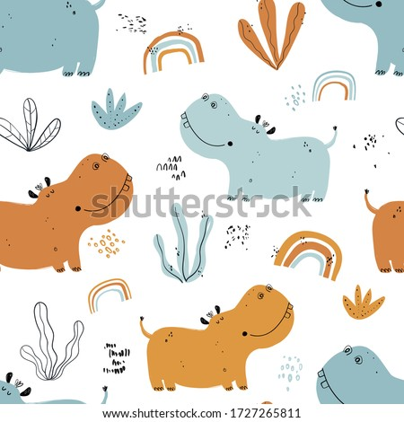Vector hand-drawn color childish seamless repeating simple flat pattern with hippos, rainbow, plants in Scandinavian style on a white background. Cute baby animals. Pattern for kids with animals.  Photo stock ©