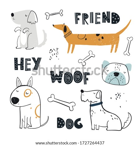 Vector hand-drawn color childish simple set with cute dogs, bones and lettering in Scandinavian style on a white background. Set with dogs for kids. Dogs print. Cute baby animals.  Photo stock ©