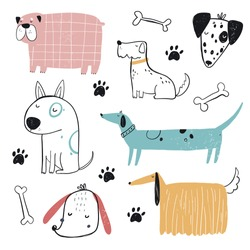 Vector hand-drawn color childish simple set with cute dogs, bones and paws in Scandinavian style on a white background. Set with dogs for kids. Dogs print. Cute baby animals.
