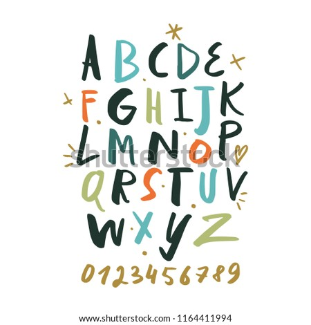 Vector hand drawn color font, letters set. ABC, alphabet. Clipart, isolated vector letters and decor elements