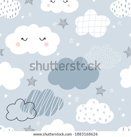 Vector hand-drawn color seamless childish simple pattern for kids with cute clouds and stars in Scandinavian style on a blue background. Baby pattern with clouds. Fabric design. Wallpaper. Stockfoto ©