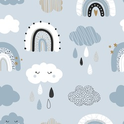 Vector hand-drawn color seamless childish simple pattern for kids with cute rainbows and clouds in Scandinavian style on a blue background. Baby pattern with rainy sky. Fabric design. Wallpaper.