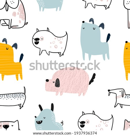 Vector hand-drawn color seamless repeating childish simple pattern with cute dogs in Scandinavian style on a white background. Trendy scandinavian vector background. Dogs print. Cute animals. Pets. Photo stock ©