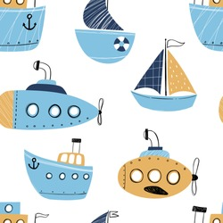 Vector hand-drawn color seamless repeating childish simple pattern with cute ships in Scandinavian style on a white background. Children's pattern with ships. Sea print. Submarine.