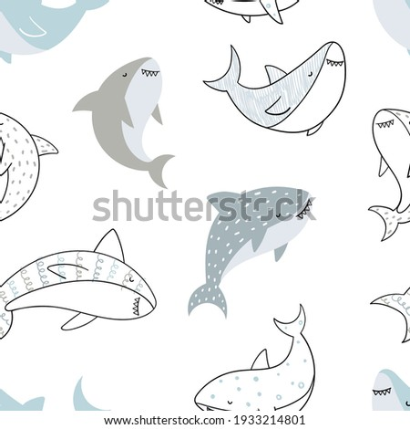 Vector hand-drawn colored childish seamless repeating simple doodle pattern with sharks in scandinavian style on a white background. Cute baby animals. Pattern for kids with sharks. Sea. Underwater. Photo stock ©