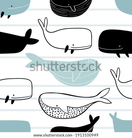 Vector hand-drawn colored childish seamless repeating simple doodle pattern with whales in scandinavian style on a striped background. Cute baby animals. Pattern for kids with whales. Kids design.
