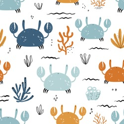 Vector hand-drawn colored childish seamless repeating simple flat pattern with crabs and plants in Scandinavian style on a white background. Pattern for kids with crabs. Sea ocean. Underwater world.