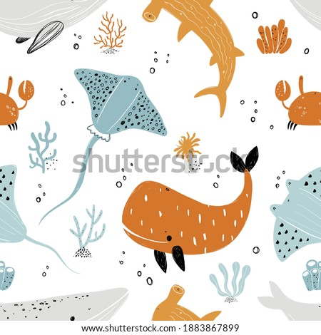 Vector hand-drawn colored childish seamless repeating simple flat pattern with stingray, whale, crab,shark, fishes in scandinavian style on a white background. Cute baby animals. Sea. Ocean.  Photo stock ©