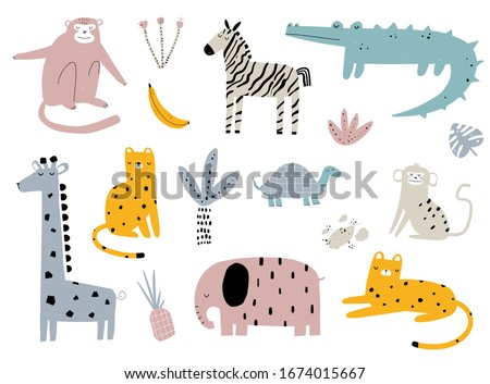 Vector hand-drawn colored children's simple set with cute african animals and plants in scandinavian style on a white background. Elephant, leopard, turtle, zebra, monkey, crocodile. Cartoon animals.  ストックフォト ©