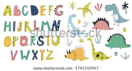 Vector hand-drawn colored children set with cute dinosaurs, plants, alphabet and doodles in Scandinavian style on a white background. Kids set with dinosaurs. Cute baby animals. Reptile. Lizard.