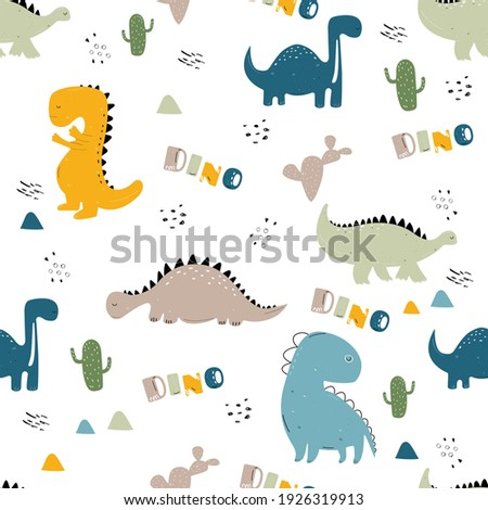 Vector hand-drawn colored seamless repeating childrens pattern with cute dinosaurs and cacti in Scandinavian style on white background. Children's pattern with dinosaurs. Cute baby animals.