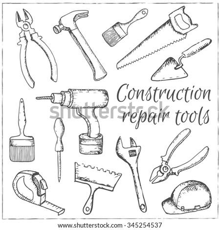 vector hand drawn construction