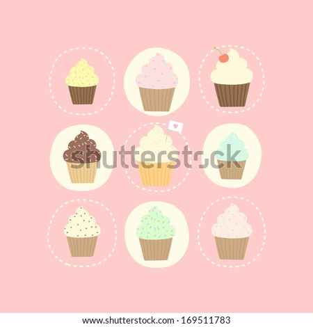 Vector hand drawn 9 cupcake card