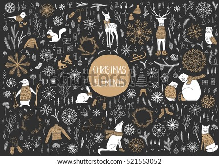 Vector hand drawn cute forest animals collection. Stylish and elegant cartoon animals. Cute and childish hipster christmas elements.