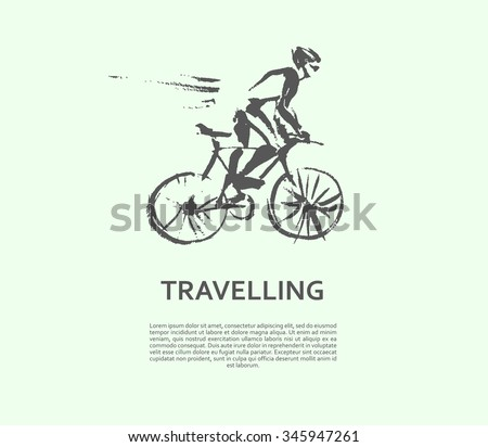 vector hand drawn cyclist