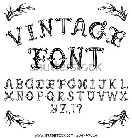 Vector Hand Drawn Decorative Vintage Abc Letters P Alphabet Wallpaper Stylish Font