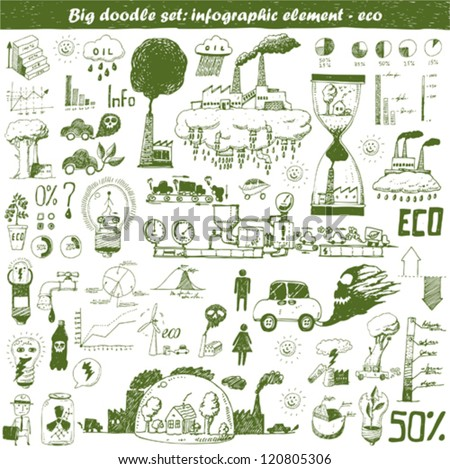 Vector hand drawn design elements - eco