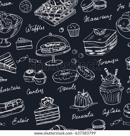 vector hand drawn desserts