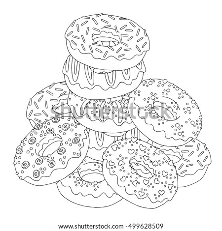 Vector hand drawn donuts illustration for adult coloring book. Freehand sketch for adult anti stress coloring book page with doodle and zentangle elements.