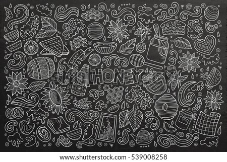 Vector hand drawn doodle cartoon set of Honey theme items, objects and symbols