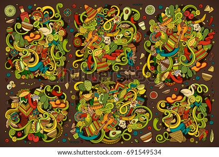 Vector hand drawn Doodle cartoon set of objects and symbols on the Latin America theme