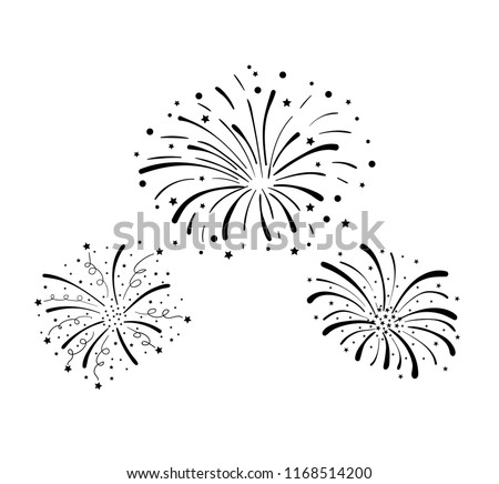 Vector Hand Drawn Doodle Fireworks, Celebration Background, Black Design Elements Isolated on White Background.