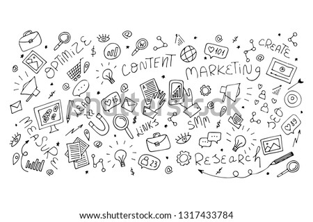 Vector hand drawn doodle outline illustration for pattern, fabric, textile, landing page