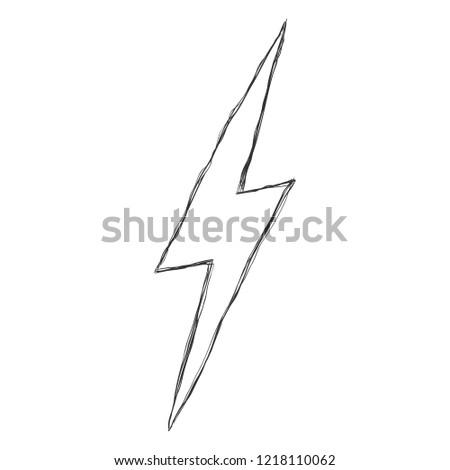 Vector Hand Drawn Doodle Sketch Illustration - Thunder Light Sign