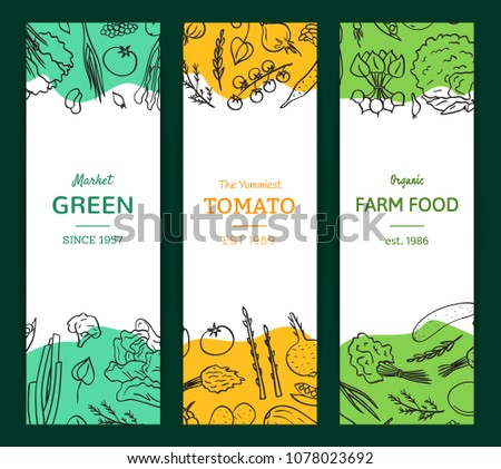 Vector hand drawn doodle vegetables icons vertical flyer or banner templates illustration