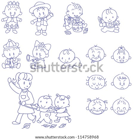 Vector hand drawn doodles sketches of babies
