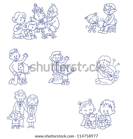 Vector hand drawn doodles sketches of families