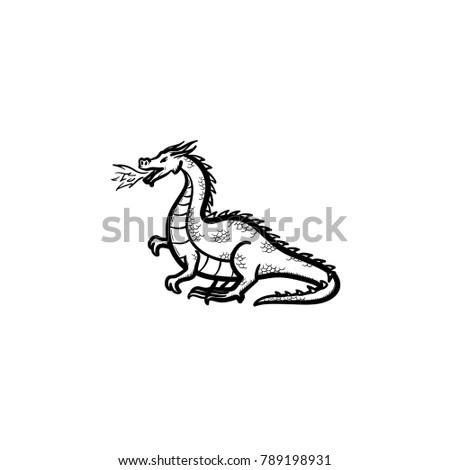 vector hand drawn dragon