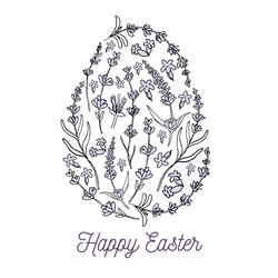 Vector hand drawn Easter egg illustration. Easter egg texture by flowers. Text Happy Easter. Easter eggs silhouette by lavender flowers .