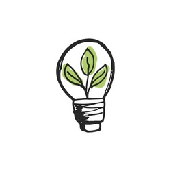 Vector hand drawn ecology light bulb with plant icon