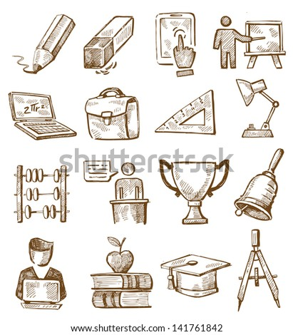 vector hand drawn education icons set on white