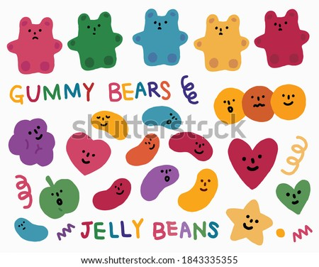 Vector hand drawn elements, Gummy bears, Jelly beans, faces, heart, wave, star, dot.