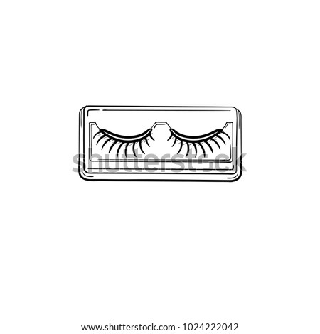 Vector hand drawn False eyelashes outline doodle icon. False eyelashes sketch illustration for print, web, mobile and infographics isolated on white background.