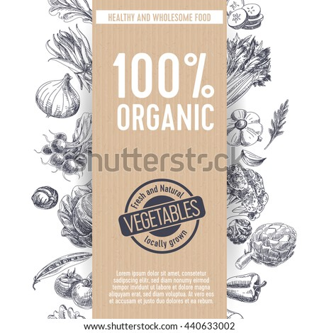 Vector hand drawn farm market Illustration. Vintage style. Retro organic food background. Locally grown sketch