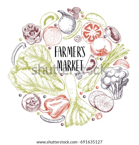 Vector hand drawn farm vegetables. Round border composition. Tomato, onion, cabbage, pepper, leek. Engraved art. Organic sketched vegetarian objects. restaurant, menu grocery market store party meal