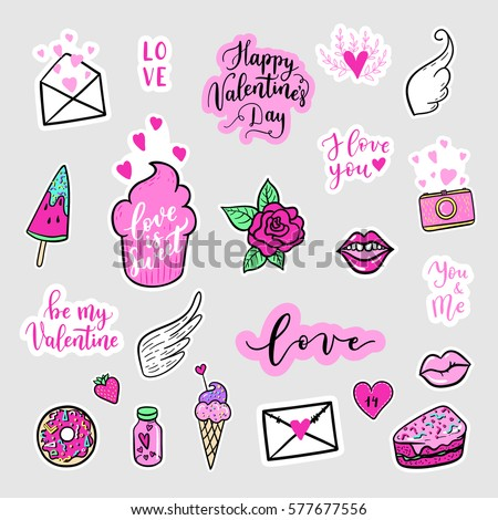 Vector hand drawn fashion patches for Happy Valentines Day. doughnut, cake, camera, lip, heart, wings. Modern set of pop art stickers, patches, pins, badges in 80s-90s cartoon style