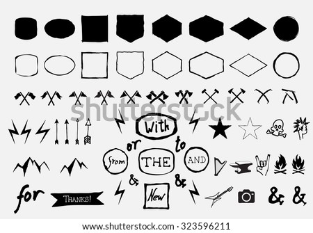 Vector hand drawn figurative shapes and badges for label, logo, insignias design.