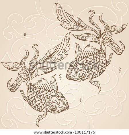 vector hand drawn fish