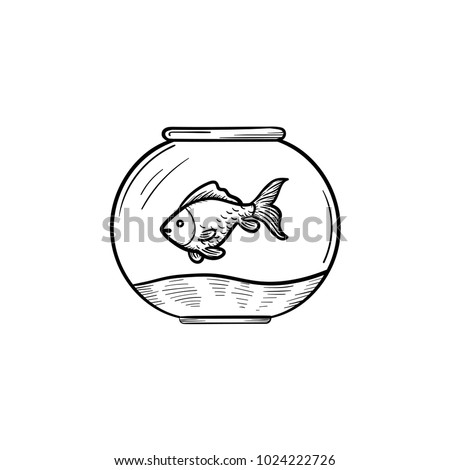 Shutterstock Vector hand drawn Fishbowl outline doodle icon. Fishbowl sketch illustration to print