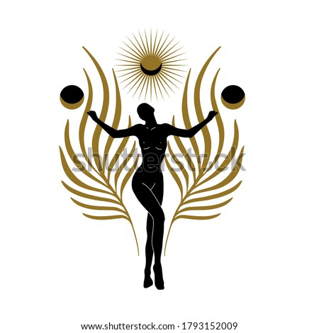 Vector hand drawn flat abstract illustration of dancer with palm leaves, moon and sun . Creative artwork. Template for card, poster, banner, print for t-shirt, pin, badge, patch. Stock fotó ©