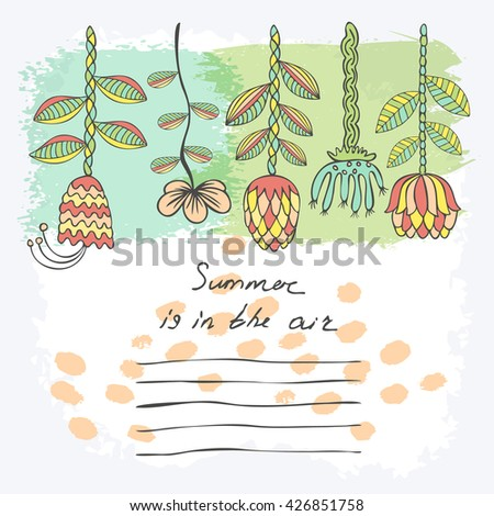 Vector Hand drawn floral background with frame for your text. Card with flowers. Doodle template universal hand drawn card #426851758