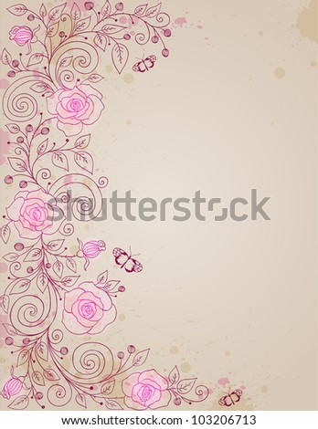 vector hand drawn floral background with rose and butterflies
