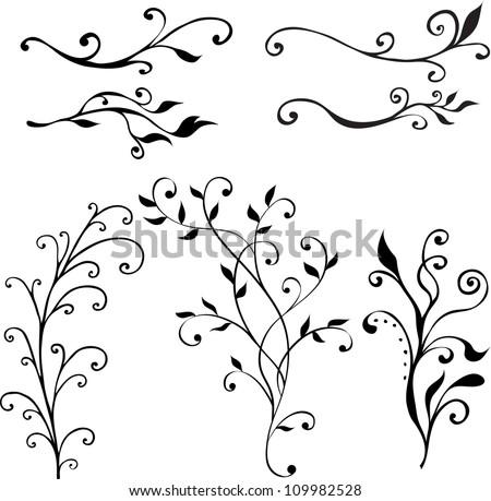 vector hand drawn floral design elements