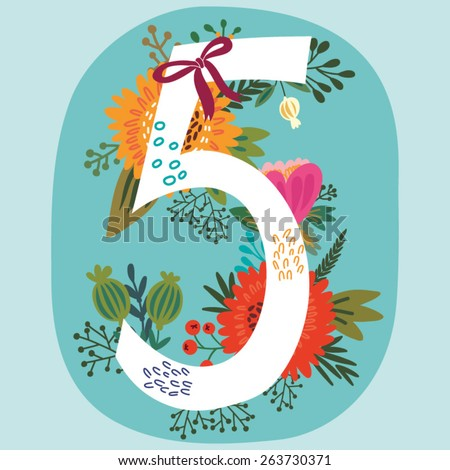 vector hand drawn floral number