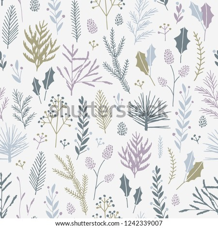 Vector hand drawn floral seamless pattern and backdrop. Elegant plant background. Intricate modern Christmas winter flower illustration set.