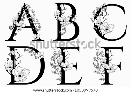 Vector Hand Drawn floral uppercase letters monograms or logo. Uppercase Letters A, B, C, D, E, F with Flowers and Branches, Cherry Blossom. Floral Design
